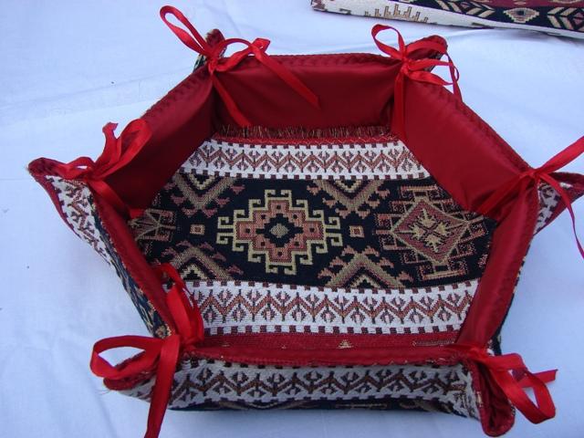 Handmade Fabric Bread Six-Sided Basket, Armenian Carpet Ornament