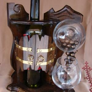 Wooden Bottle and Glass Holder