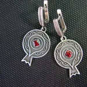 Pomegranate Earrings Sterling Silver 925