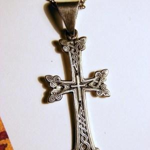 Silver Armenian Cross, Antique Khachqar Ornament