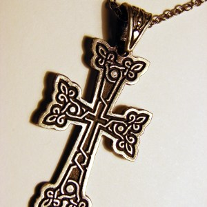 Armenian Cross Pendant Sterling Silver 925, Antique Khachqar Ornament