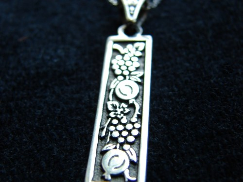 Necklace Grape and Pomegranate Ornament, Sterling Silver 925