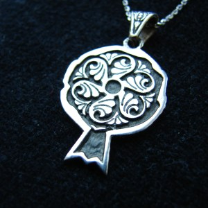 Wheel of Eternity Symbol Necklace Sterling Silver 925 in Pomegranate Form