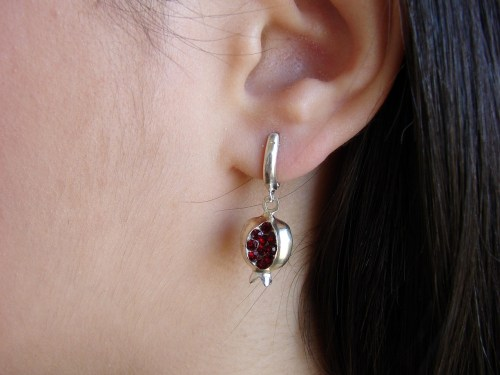 Set of Pomegranate Earrings and Necklace