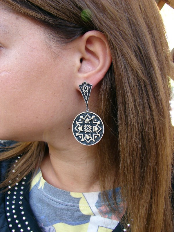Silver Round Earrings Large, Ethnic Carpet Ornament