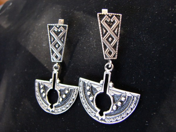 Pomegranate Long Earrings Sterling Silver 925