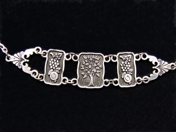 Wide Linked Bracelet Sterling Silver 925, Tree of Life, Pomegranate, Grape