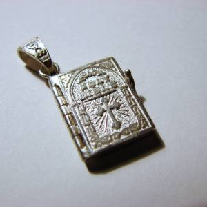 Miniature Prayer Book Silver Necklace
