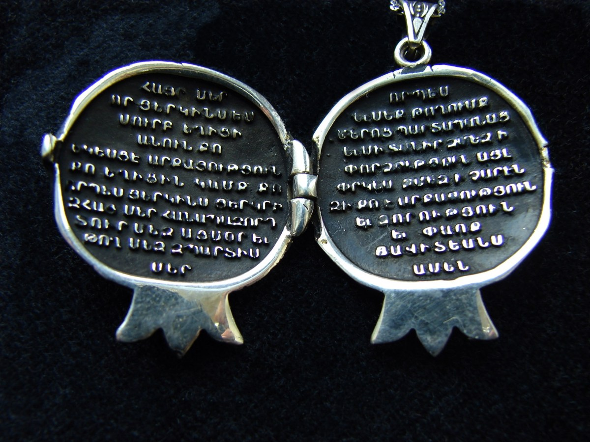 Prayer Book Pendant in form of Pomegranate, Lord's Prayer Our Father in Armenian, 925 Silver