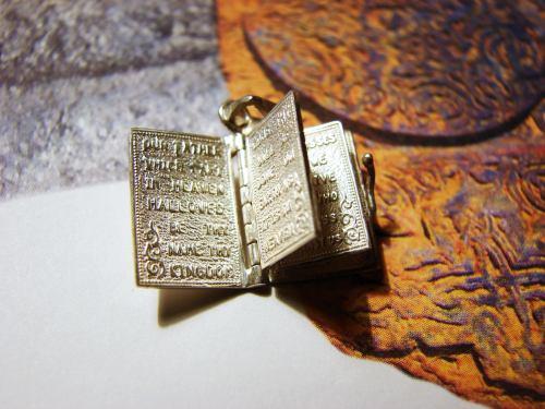 Miniature Prayer Book Silver Necklace