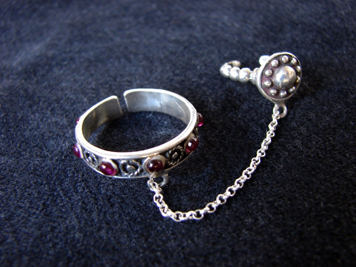 Double chain linked Rings 925 Sterling Silver Antique Style, Adjustable multi-finger rings