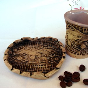 Pottery Mug, Ceramic Espresso Coffee Cup with plate Ararat Mountain