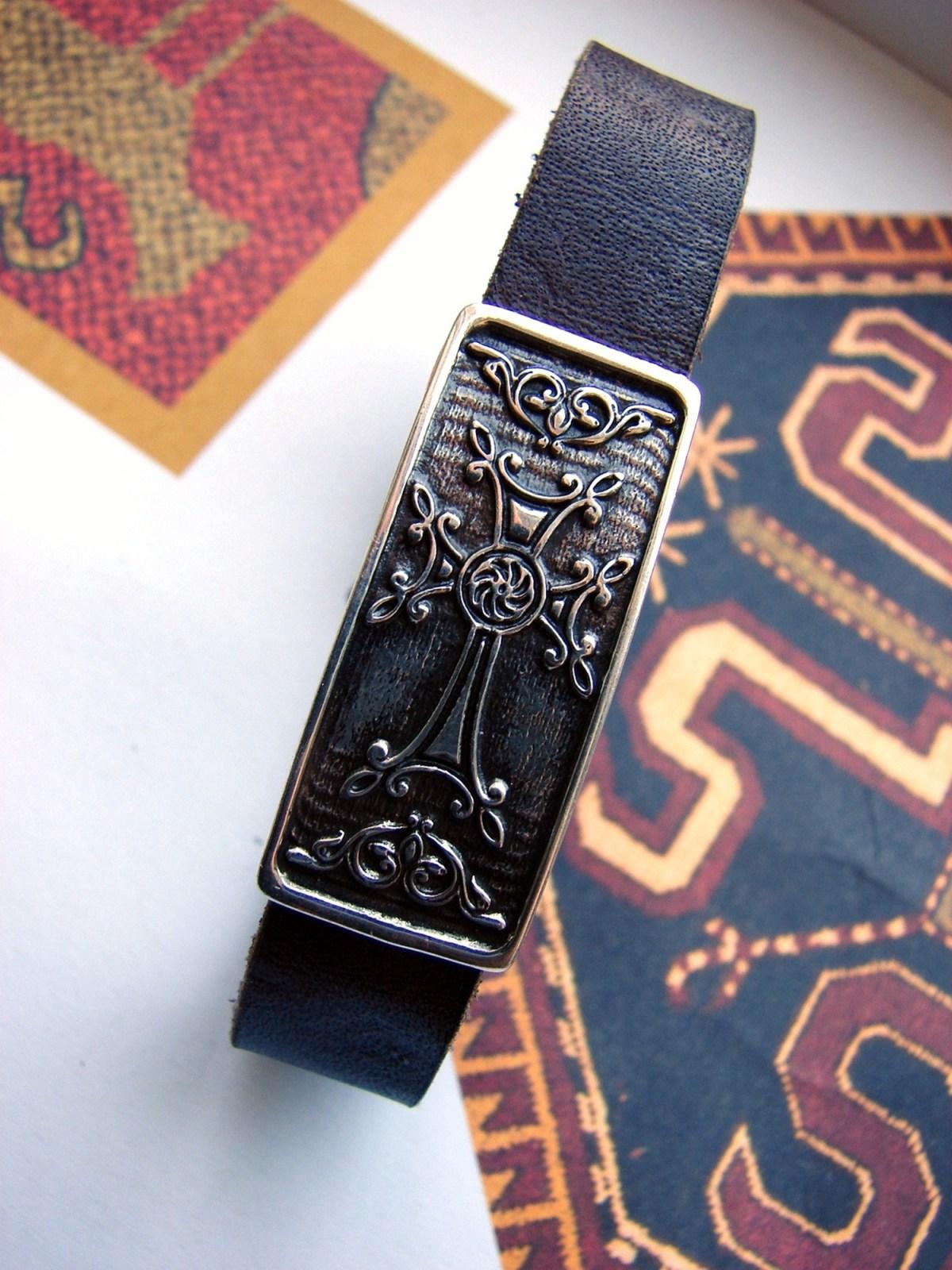 Leather & Silver Bracelet for Men and Women Armenian Cross