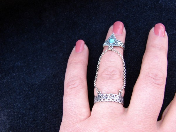 Double Ring Triangle chain linked 925 Sterling Silver Antique Style, multi-finger rings