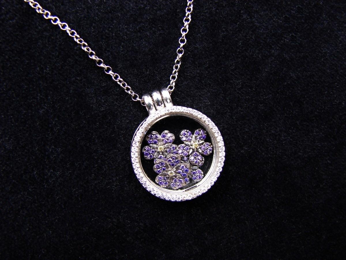 Glass Locket Pendant Forget me Not Flower Sterling Silver 925, Armenian Symbol, Anmoruk