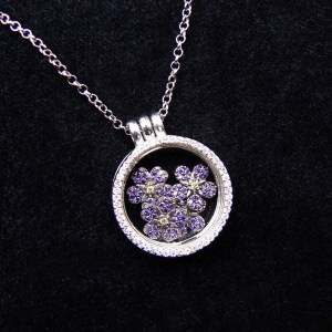 Glass Locket Pendant Forget me Not Flower Sterling Silver 925, Armenian Symbol, Anmoruk