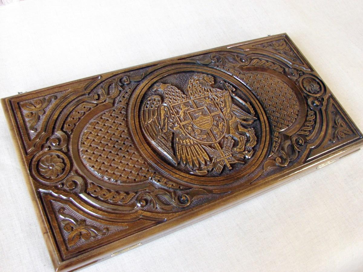 Backgammon Board Armenia Coat of Arms, Natural Wood, Nardi Nardy