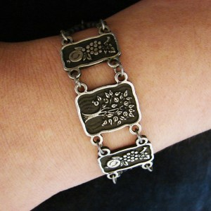 Wide Linked Bracelet Sterling Silver 925, Tree of Life, Pomegranate, Grape