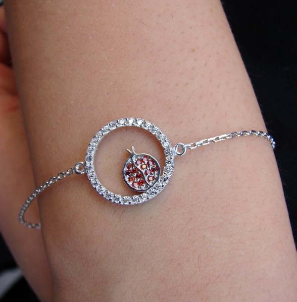 Lucky Charm Pomegranate Bracelet 925 Sterling Silver with White and Red Zircon