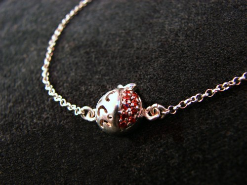 Pomegranate Bracelet 925 Sterling Silver Red Zircon