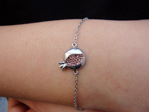 Silver Pomegranate Charm Bracelet with Red Zircon