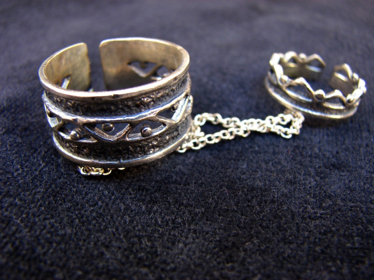 Silver Double Rings Ethnic Style, Chains linked, Adjustable multi-finger rings