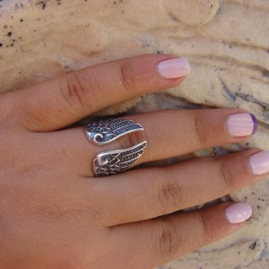 Silver Ring Angel Wings, Adjustable Ring