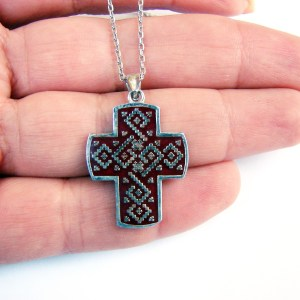 Silver Armenian Cross Enamel Plated Ethnic Ornament