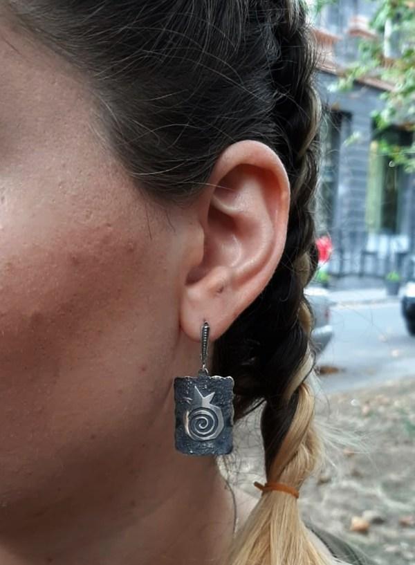 Silver Pomegranate Earrings, Armenian Handmade Jewelry