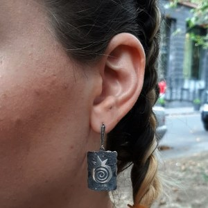 Silver Pomegranate Earrings, Armenian Handmade Jewelry