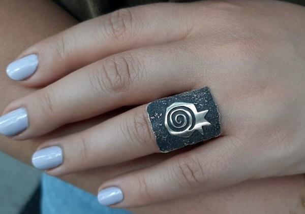 Wide Ring Sterling Silver Pomegranate Design