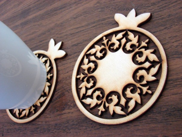 Drink Coasters Wooden Set of 6, Pomegranate Form Coasters with Stand
