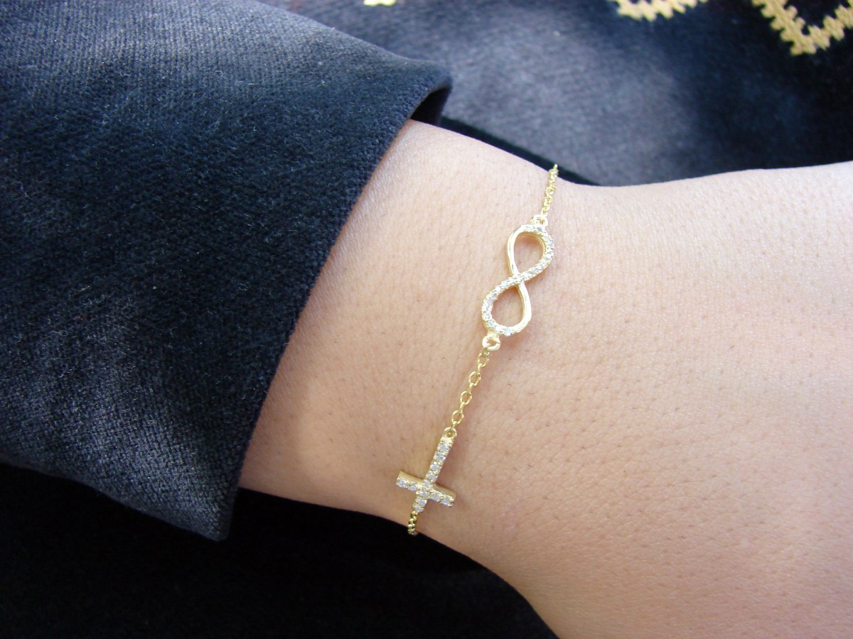 Bracelet Infinity Gold Plated Sterling Silver 925, Delicate Chain and Cross