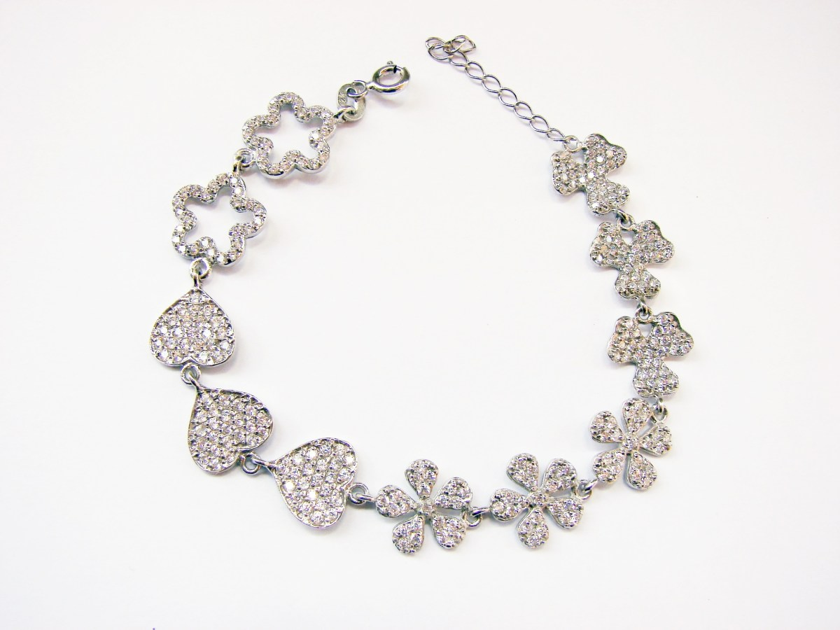 Bracelet Hearts & Flowers Sterling Silver 925 with Sparkling Zircons