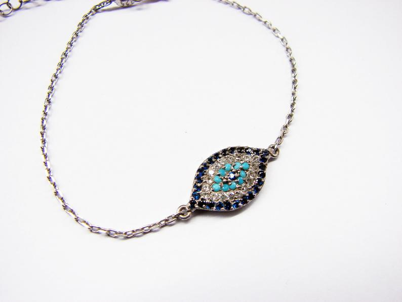 Lucky Evil Eye Bracelet Sterling Silver 925