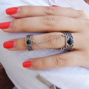 Ethnic Style Double Rings, Chains linked, Silver Adjustable multi-finger rings