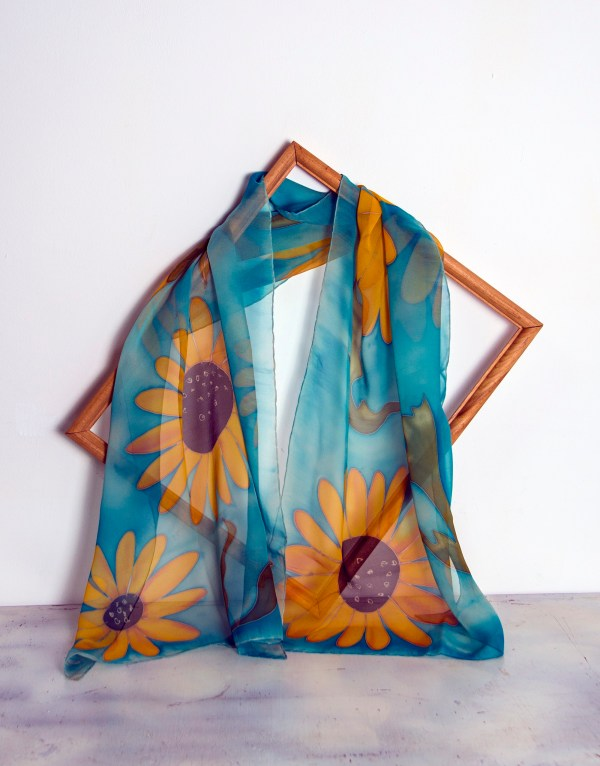 Silk Scarf Sunflowers, Blue Hand Painted Scarf
