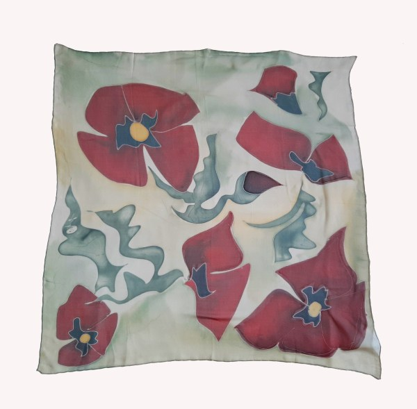 Silk Scarf Red Poppies, Hand Painted Scarf, Square abstract scarf
