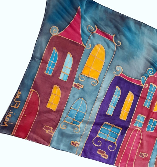 Silk Scarf Fairy Tale Тown, Hand Painted Scarf