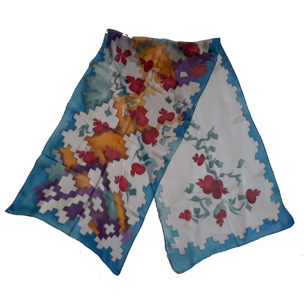 Pomegranate Silk Scarf with Armenian Carpet ornament