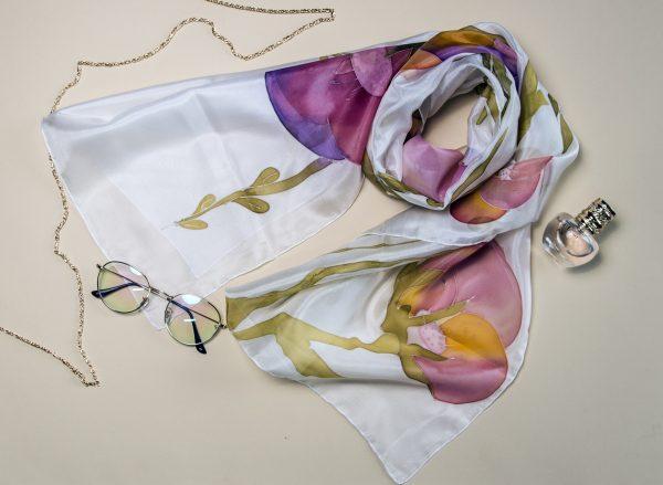 Floral Silk Scarf, Elegant Hand Painted Scarf