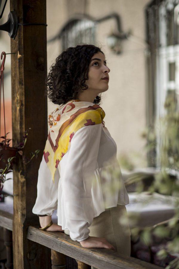 Armenian Alphabet Silk Chiffon Scarf, Hand Painted Scarf, White & Purple Long scarf, Gift For Her, Fashion Scarf