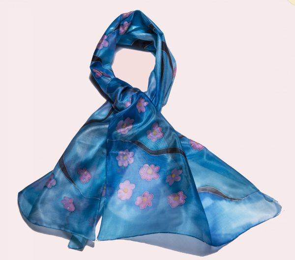 Silk Scarf Sakura in Blue, Hand Painted Scarf, Long elegant scarf, Gift For Her, Fashion Scarf