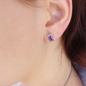Natural Amethyst Stud Earrings, Sterling Silver 925, Gift for Her, Gemstone Earrings, Armenian Handmade Jewelry.