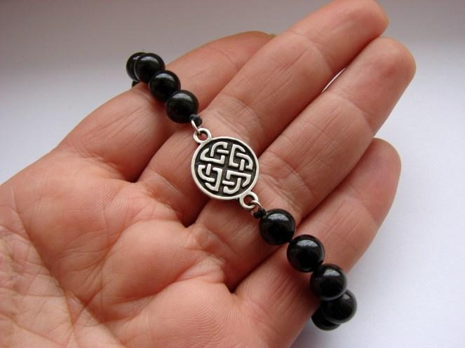 Beaded Bracelet Black Onyx Stone and Celtic Shield Knot Charm Sterling Silver 925