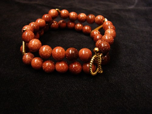 Bracelet Galaxy Stars Goldstone 2 strands, Handmade Jewelry, Gift for Her