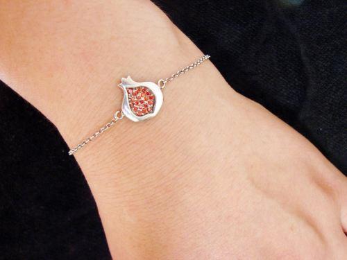 Pomegranate Bracelet 925 Sterling Silver Red Zircon
