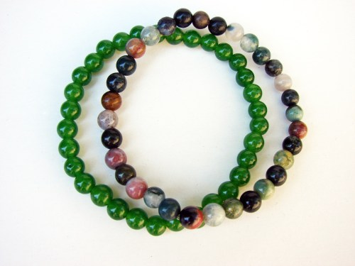 2 strand Bracelet Green Nephrite and Multi-Color Agate Beads