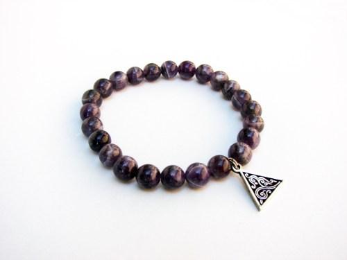 Purple Amethyst Bracelet with Charm Sterling Silver 925