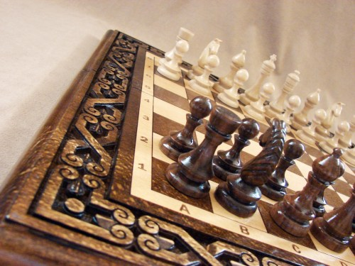 Unique Chess Board Set made of Wood 3 in 1